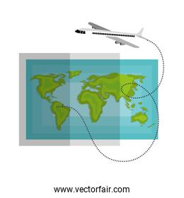 world map paper with airplane