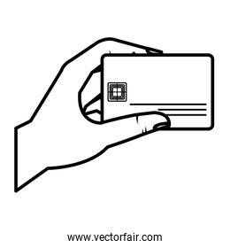 hand human with credit card isolated icon