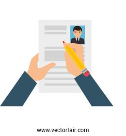 hands human with curriculum vitae isolated icon
