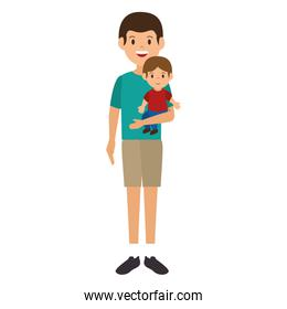 father with baby characters
