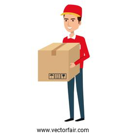 courier worker with box avatar character