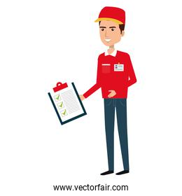 courier worker with checklist avatar character