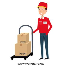 courier worker with car handle avatar character
