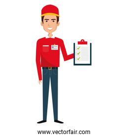 isolated courier worker with checklist avatar character