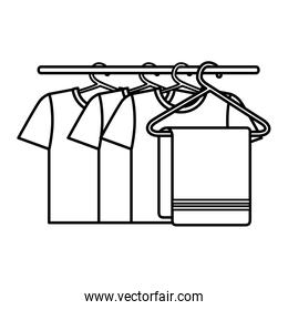 shirts hanging in the laundry