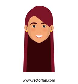 beautiful and young woman head