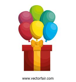 giftbox present with ballons air isolated icon