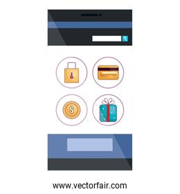 smartphone device with ecommerce app isolated icon