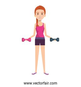 woman weight lifting with sport wear