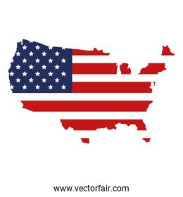 united states of america map with flag geography
