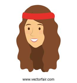 woman with headband character hippy lifestyle