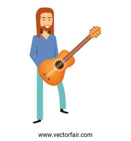 man playing the guitar character hippy lifestyle