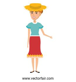 Woman in farmer costume with straw hat