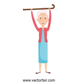 cute grandmother with cane avatar character