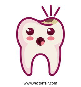 tooth character with caries