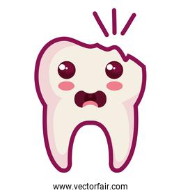 broken tooth character isolated icon