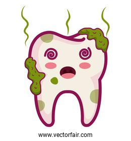 tooth dirty character isolated icon