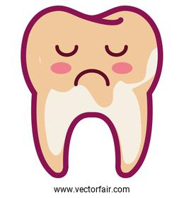 tooth sad character isolated icon