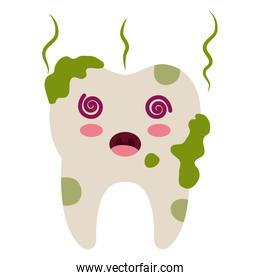 tooth dirty character isolated design
