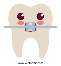 tooth with bracket character isolated icon