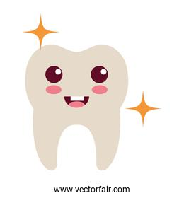 happy tooth character isolated icon