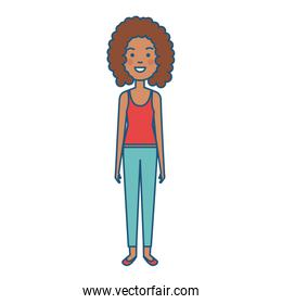 cute afro woman standing character
