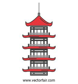 japanese temple over white icon