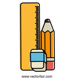 school rule with eraser and pencil