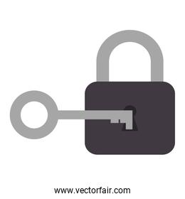 safe padlock with key over white