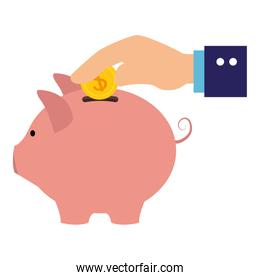 hand human with piggy savings isolated icon