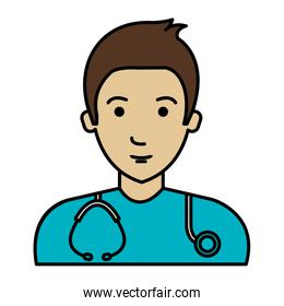 male doctor with stethoscope avatar character