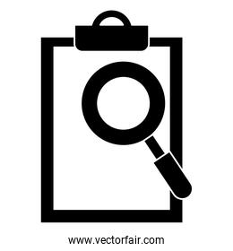 clipboard document with magnifying glass