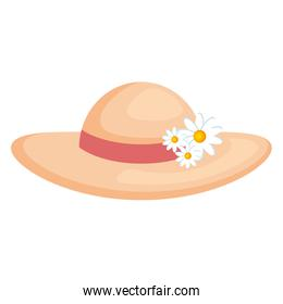 summer female hat with flowers