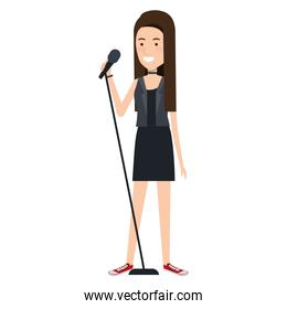 woman singing with microphone
