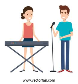 couple singing and playing synthesizer