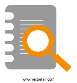 document paper with magnifying glass