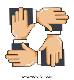 businesspeople hands teamwork icon