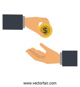 hands with coin money isolated icon
