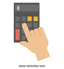 hand with calculator device isolated icon
