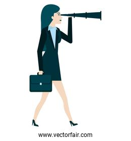 businesswoman with telescope avatar character