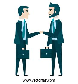 businesspeople with portfolio avatars characters