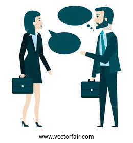 businesspeople with speech bubbles avatars characters