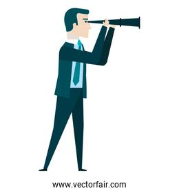 businessman with telescope avatar character