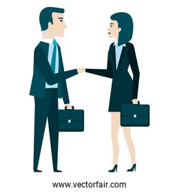 businesspeople with portfolio characters