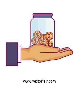 hand saver with glass jar and coins money
