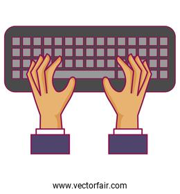hands user with keyboard