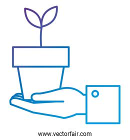 hand with plant in pot icon