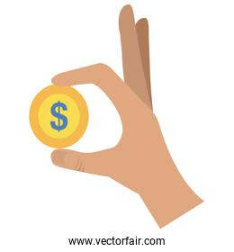 hand with coin money