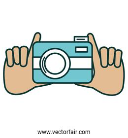 hands with photographic camera