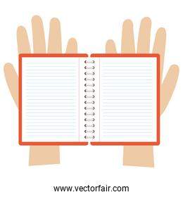 hands with notebook icon